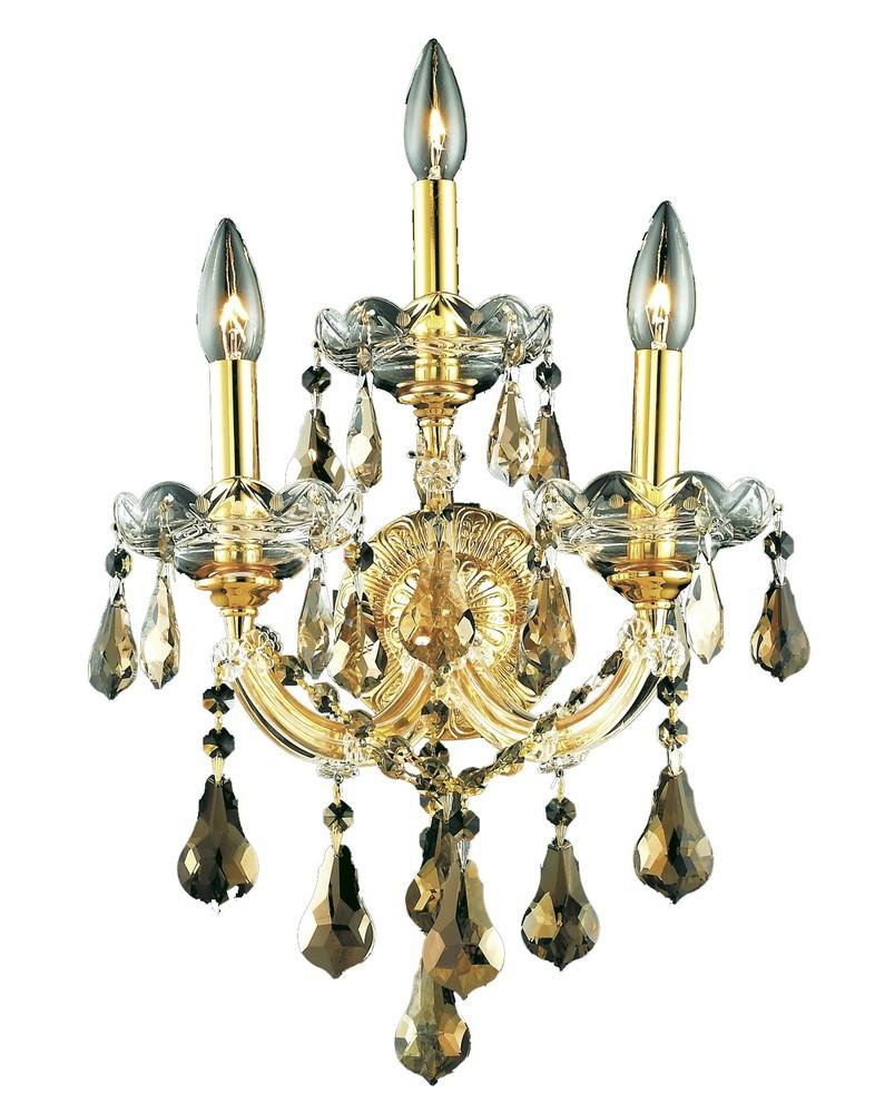 Maria Theresa 3 Light Gold Wall Sconce Golden Teak Smoky Swarovski